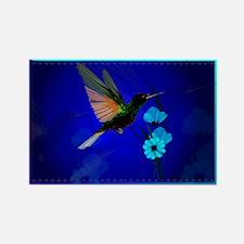 Green Hummingbird-Blue Flower Rectangle Magnet