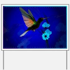 Green Hummingbird-Blue Flower Yard Sign