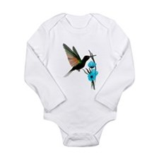 Green Hummingbird-Blue Flower Onesie Romper Suit