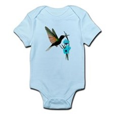 Green Hummingbird-Blue Flower Onesie