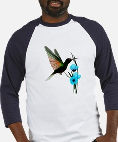 Green Hummingbird-Blue Flower Baseball Jersey