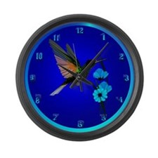 Green Hummingbird-Blue Flowers Large Wall Clock
