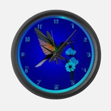 Green Hummingbird-Blue Flowers Large Wall Clock