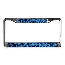 Dark Blue Leopard Print License Plate Frame