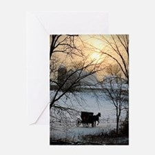 Winter Amish Sunset Greeting Cards