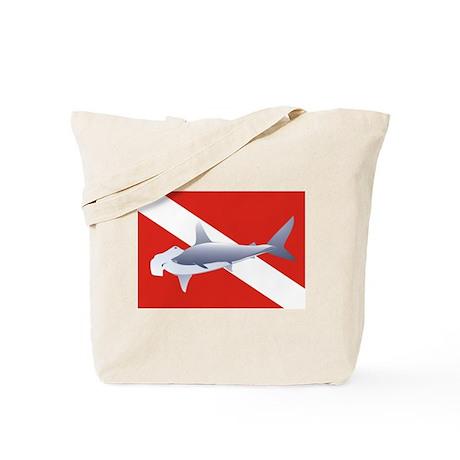 hammerhead on dive flag Tote Bag