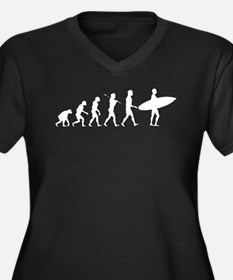 Evolution Of Surf Women's Plus Size V-Neck Dark T-