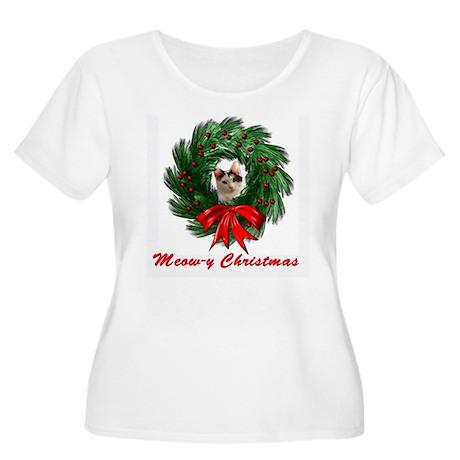 Meow-y Christmas Wreath Cat Women's Plus Size Scoo