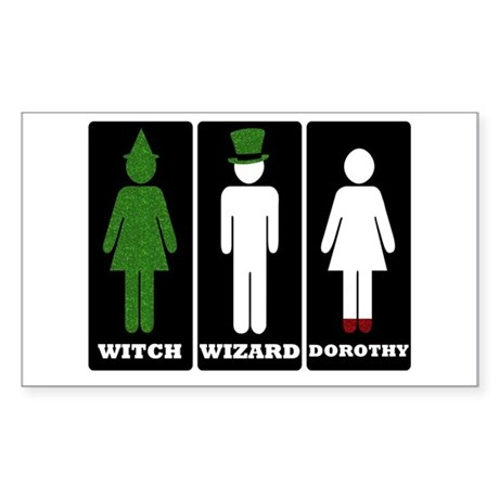 Oz Bathroom Signs Sticker (Rectangle)