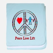 Peace Love Lift baby blanket