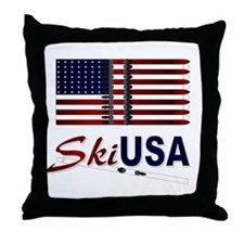 Ski USA Throw Pillow