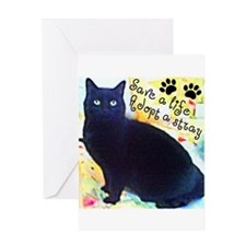 Stray Black Kitty Greeting Card