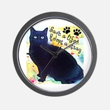 Stray Black Kitty Wall Clock