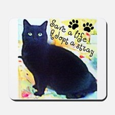 Stray Black Kitty Mousepad