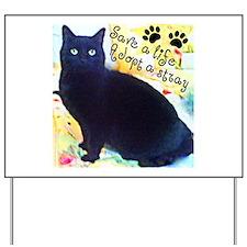 Stray Black Kitty Yard Sign