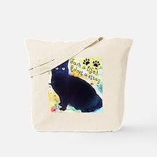 Stray Black Kitty Tote Bag