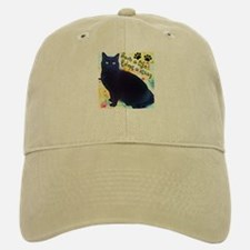 Stray Black Kitty Baseball Baseball Cap