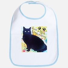 Stray Black Kitty Bib