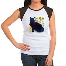 Stray Black Kitty Women's Cap Sleeve T-Shirt