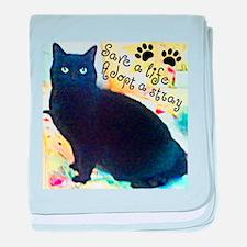 Stray Black Kitty baby blanket