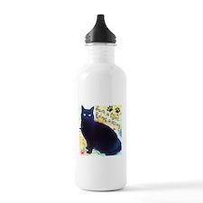 Stray Black Kitty Water Bottle