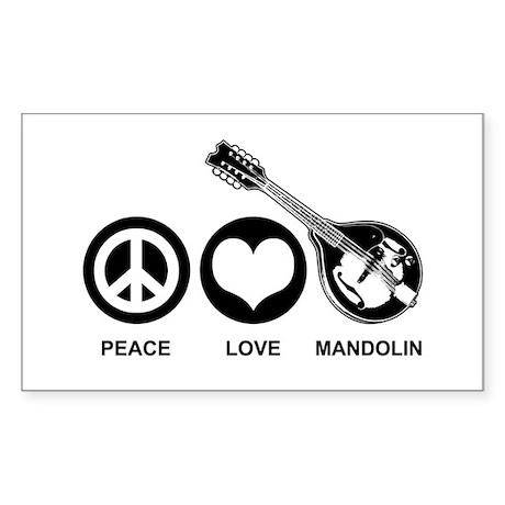 Peace Love Mandolin Sticker (Rectangle)