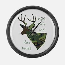 Rifles, Racks And Deer Tracks Large Wall Clock