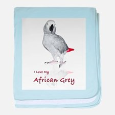i love african greys baby blanket