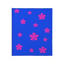 Retro Pink Flowers Throw Blanket Throw Blanket