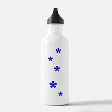 Blue Flowers 60s Style Water Bottle