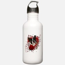 Cute Boston terrier valentine Water Bottle