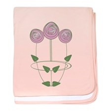Art Nouveau Mackintosh Roses in Pink baby blanket