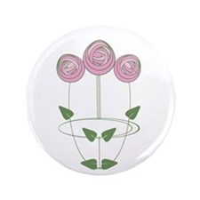 """Art Nouveau Mackintosh Roses in Pink 3.5"""" Button"""