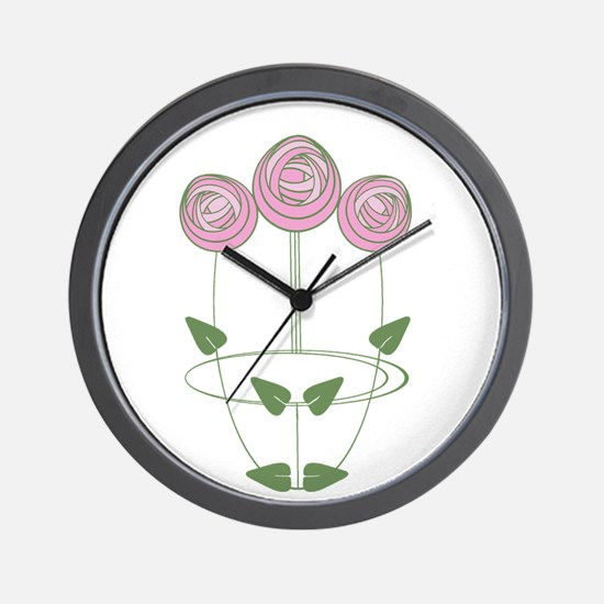 Art Nouveau Mackintosh Roses in Pink Wall Clock