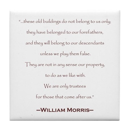 William Morris Preservation Quote Tile Coaster