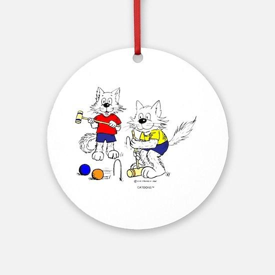 Croquet Cats Ornament (Round)