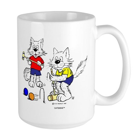 Croquet Cats Mugs Large Mug