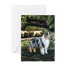 Aussie Blue Merle w/ Sheep Greeting Card