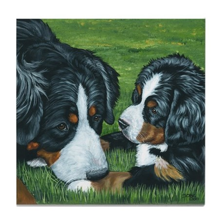Bernese Mountain Dog Mom and Tile Coaster