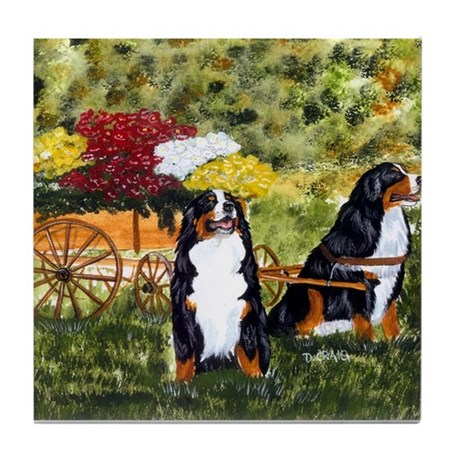 Bernese Mountain Dog Flower C Tile Coaster