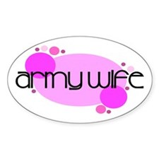 Army Wife Retro Dots Oval Decal