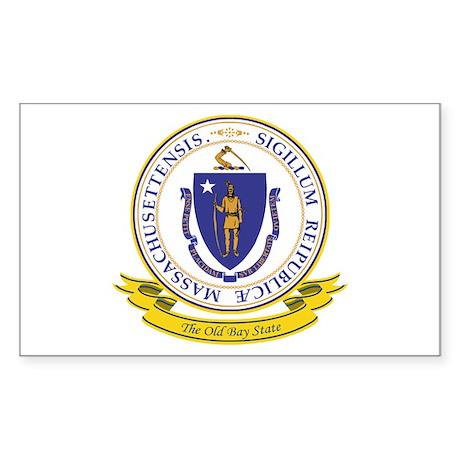 Massachusetts Seal Sticker (Rectangle)