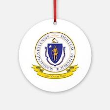 Massachusetts Seal Ornament (Round)