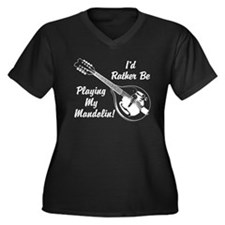Rather Be Playing My Mandolin Women's Plus Size V-