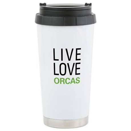 Live Love Orcas Stainless Steel Travel Mug