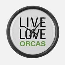 Live Love Orcas Large Wall Clock