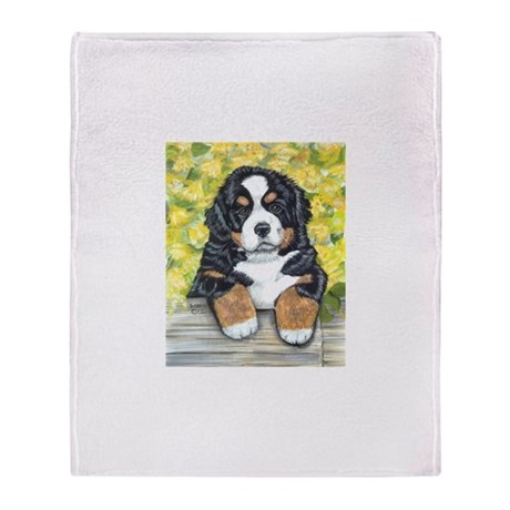 Bernese Mountain Dog Fence Pu Throw Blanket