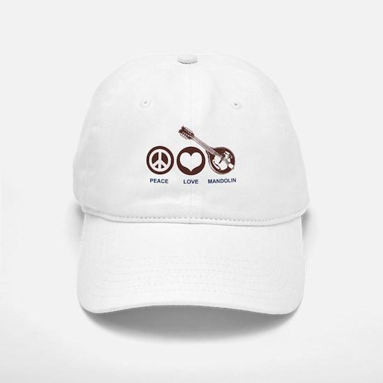 Peace Love Mandolin Baseball Baseball Cap