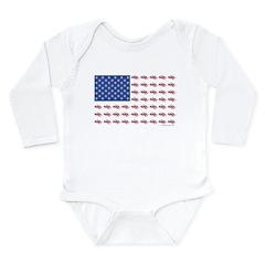 American Flag Made of Snowmobiles Long Sleeve Infa