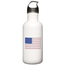 American Flag Made of Snowmobiles Water Bottle